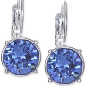 Nine West Silver-Tone Crystal Stone Drop Blue